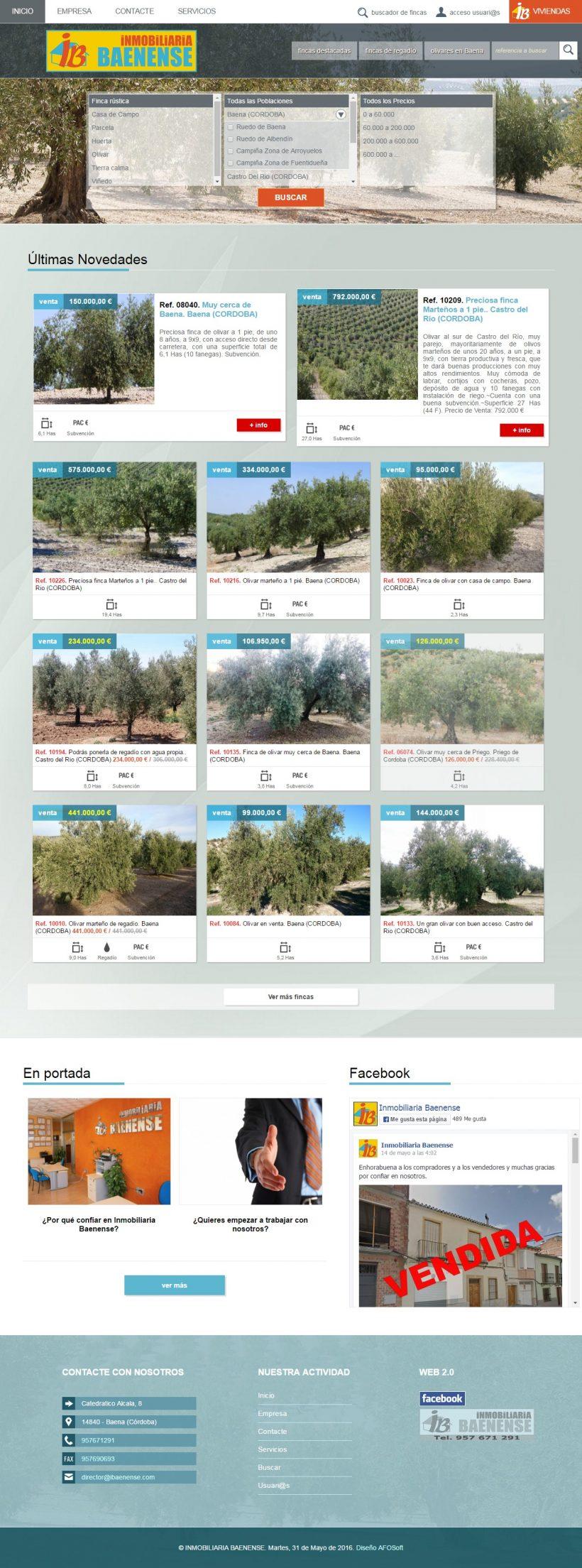 Web de Olivares en venta