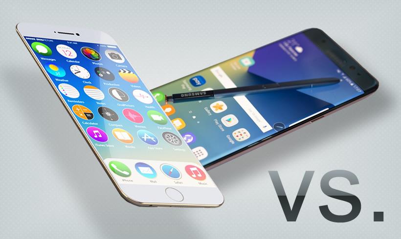iPhone 7 Plus y Samsung Galaxy Note 7 frente a frente